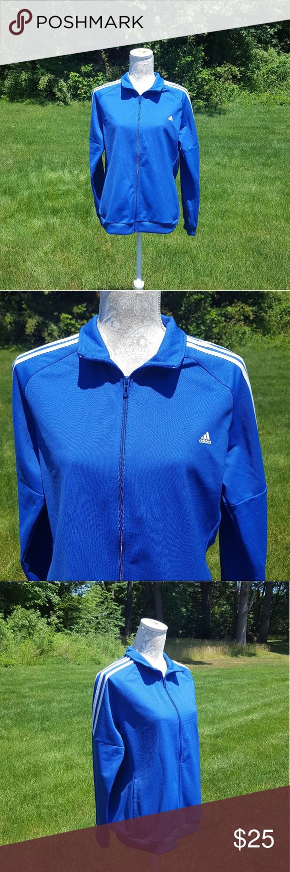 Adidas blue and white zip up track jacket Has been worn Size large Long sleeves Zip up Collared  Track jacket  No Trades adidas Jackets & Coats