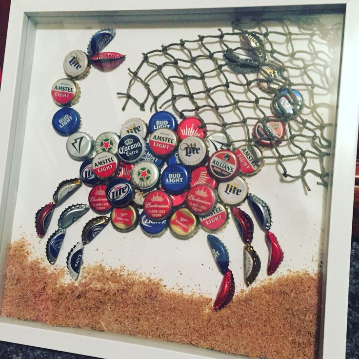 Beer cap crab shadowbox maryland pride crafty for Crafts to do with beer bottle caps