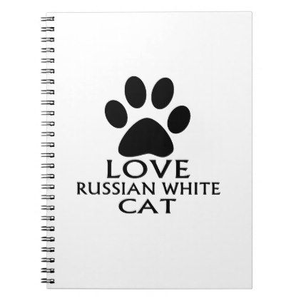 LOVE RUSSIAN WHITE CAT DESIGNS NOTEBOOK - white gifts elegant diy gift ideas