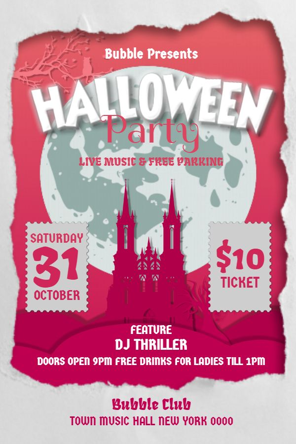 pink halloween dj party flyer poster design template halloween