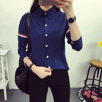 2016新しい女性ブラウスシャツ長袖人間サンドバッグシャツ袖付きカラーストライプ綿カジュアルシャツ女性トップス
