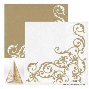 POMP gold/white  - luxusné svadobné servítky z netkanej textílie, ornament, zlatá, biela rozmer 40x40