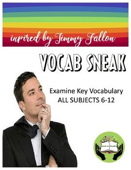 """VOCAB, JIMMY FALLON, & FUN ALL IN ONE! NO PREPARATION NEEDED. THIS VOCAB GAME WORKS FOR ALL SUBJECTS. Increase vocabulary building in your classroom and reinforce classroom concepts using Jimmy Fallon inspired """"Word Sneak,"""" This packet includes: -100 unique playing cards -Clear"""