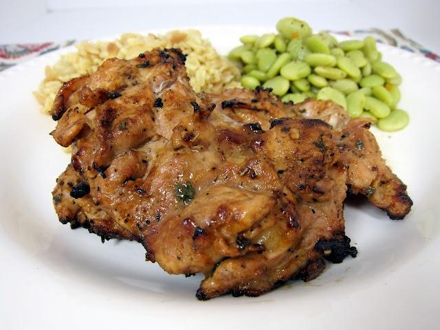 Dijon Grilled Chicken Thighs - 1/3 cup dijon, 1/4 cup balsamic vinegar