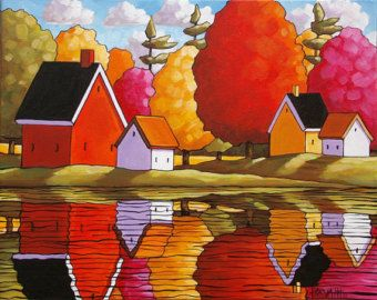 PAINTING ORIGINAL Folk Art Fall River Cottage von SoloWorkStudio