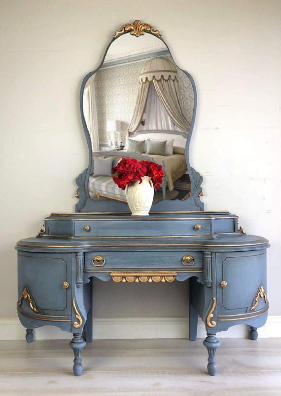 painted furniture vintage vanity makeup mirror farmhouse vanity table tampa florida curvy victorian style vintage vanity