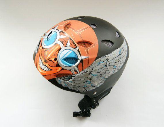 Cool Steampunk Custom Helmet. Hand Painted Ski by atelierChloe