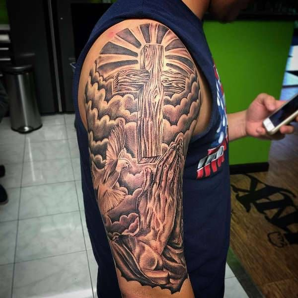 Best 25+ Prayer Hands Tattoo Stencil Images On Pinterest