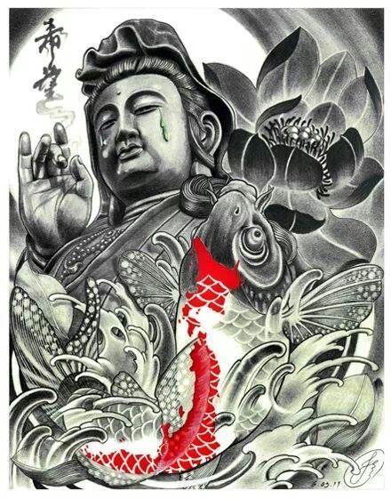 Buddha, koi, orchid