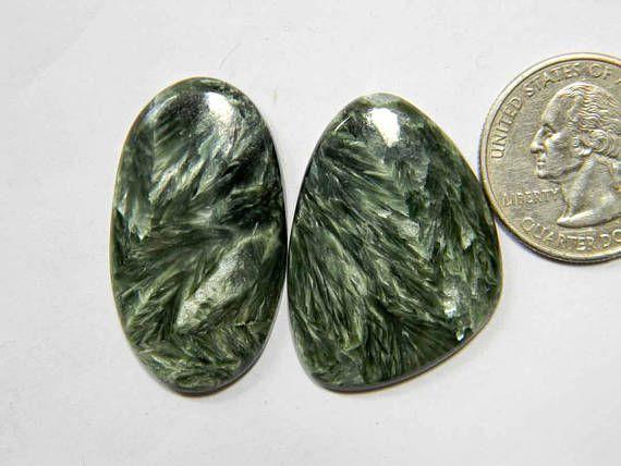 2 Pieces Lot Freeform Seraphinite Loose Gemstone Mix Shape