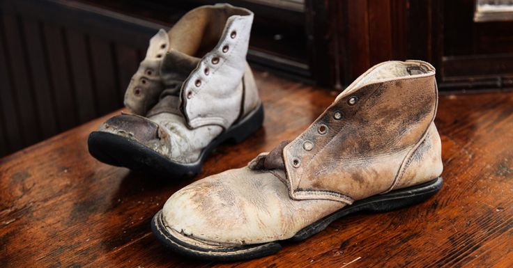 Leather shoes left behind by miners in 1954 at Kolmanskop, Namibia. #namibia #luxurytravel