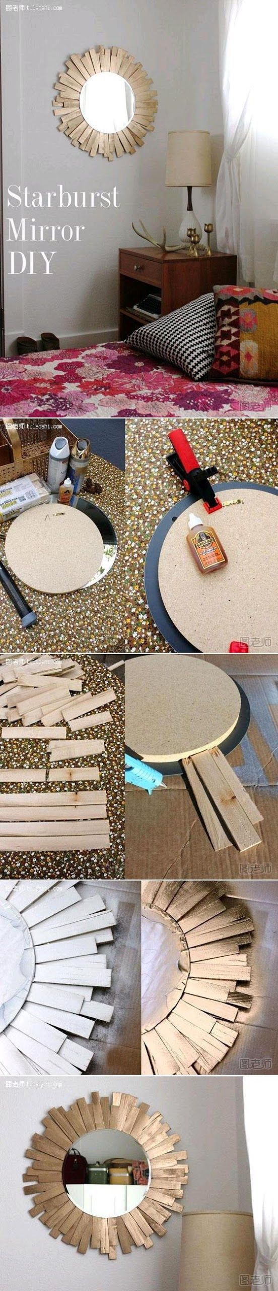 Diy : Starburst Mirror --instead of painting the wood chips gold, i'd stain it.  it's beautiful for an entry or that odd small wall between door ways.