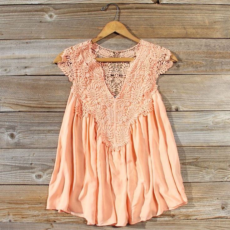Shaded Peach Top, Women's Bohemian Lace Tops from Spool 72.   Spool No.72