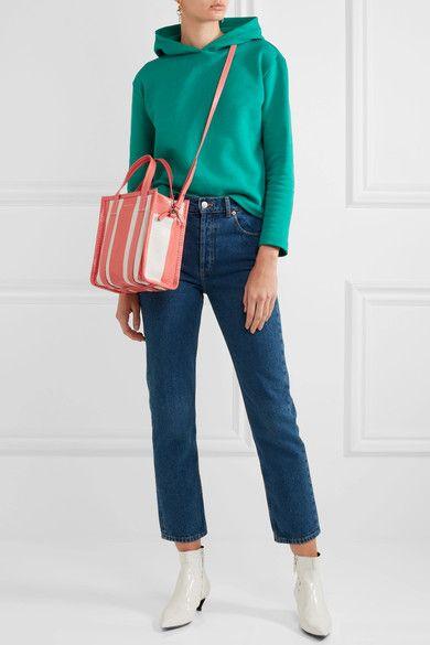 Balenciaga | Bazar small striped textured-leather tote | NET-A-PORTER.COM