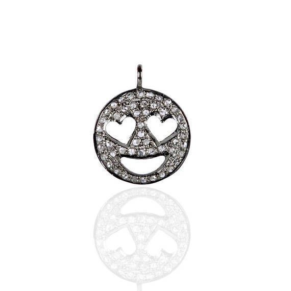 Sterling Silver Diamond Emoji Heart Eyes Love Happy Smiley Face Charm Pendant #Handmade