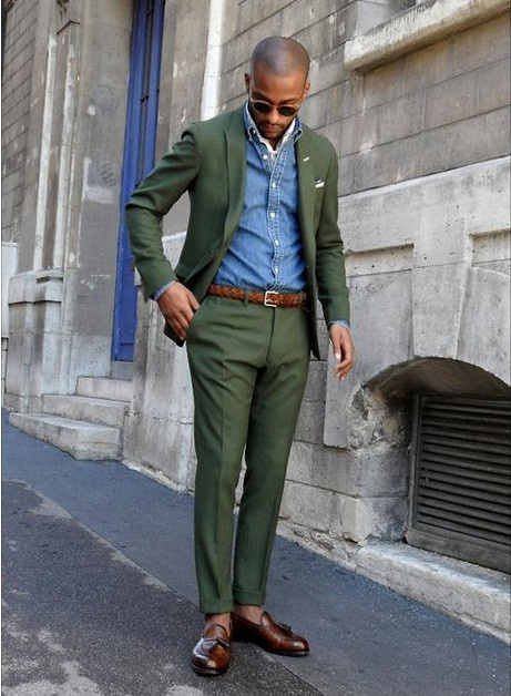 navy green suit