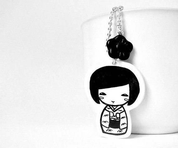 Kokeshi Doll Necklace - Pendent handrawn on shrink plastic - black and white on Etsy, $20.09 CAD