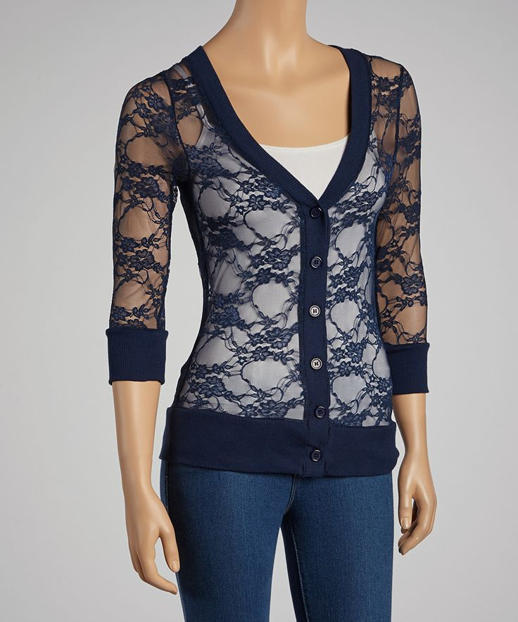 Navy Lace Cardigan --- I've one in black. Would be nice to have another in a different color.