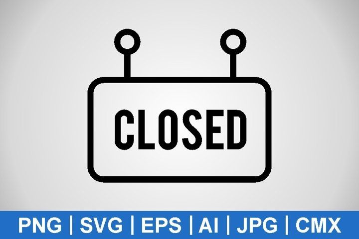 Vector Closed Sign Icons 980839 Icons Design Bundles In 2021 Icon Graphic Design Resources Closed Signs