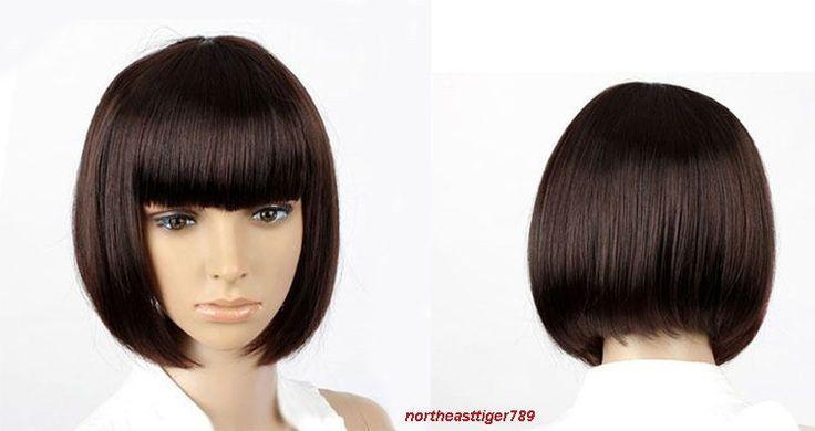 Hot Sell Short Dark Brown Bob Straight Bangs Women'S Lady'S Hair Wig Wigs + Cap
