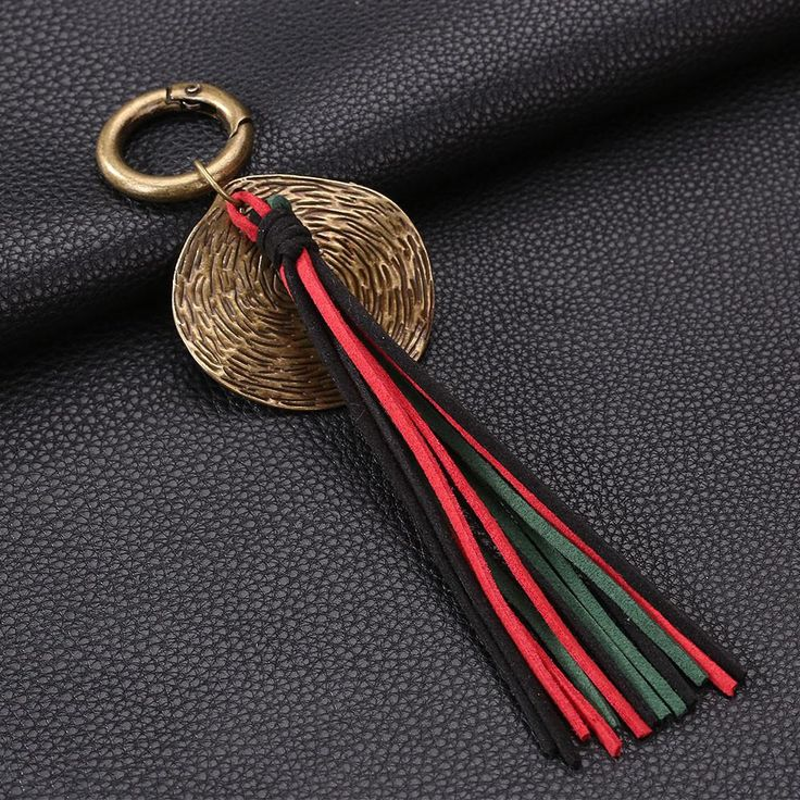 Colorful Leather Retro Tassel Keychain Bag Handbag Key Ring Car Key Pendant