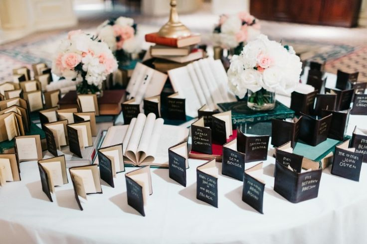 The cutest book themed wedding reception idea: Miniature  book escort cards (Michael Anthony Photography)