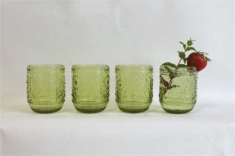 Embossed Drinking Glass ~ Green