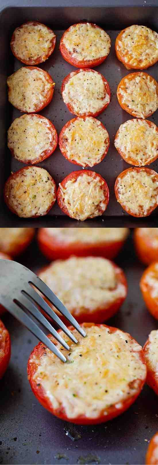Parmesan Roasted Tomatoes – juicy and plump roasted tomatoes loaded with Parmesan cheese. So easy to make, fool-proof and amazing! …