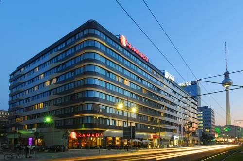 Ramada Hotel Berlin-Alexanderplatz Berlin Just a 2-minute walk from Alexanderplatz, this hotel offers a rich breakfast buffet and modern, soundproofed rooms with a flat-screen TV and free Wi-Fi in the lobby. It has great transport links to all parts of Berlin.