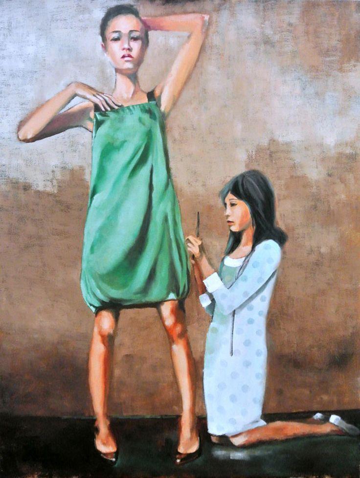 The Dress Maker by Mila Posthumus. http://www.stateoftheart.co.za/art/painting/the-dress-maker-by-mila-posthumus/3085