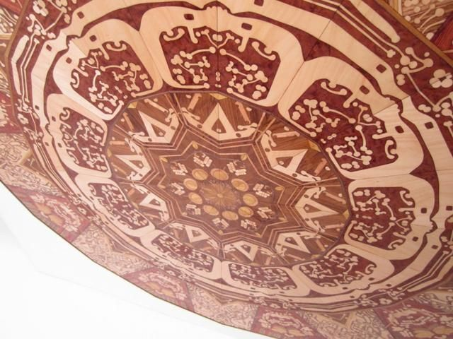 """E-waste Marquetry Project by christy oates. The E-waste Project was inspired by discarded electronic equipment at an e-waste recycling center. Although this piece was assembled by hand, it was designed in a computer-aided drafting program and all the pieces were laser cut. The concept is to create a link between manufactured products and manufactured art. It poses the question, """"Does the art lose value if it is made by a machine?"""""""