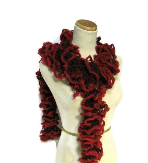 Mothers Day Hand Knit Ruffled Scarf Burgundy by ArlenesBoutique 40  Mother's Day Scarf