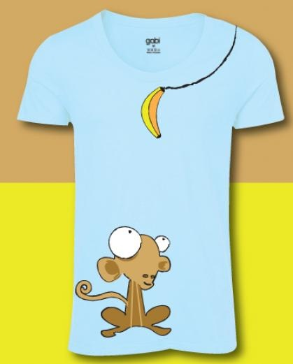 Look at that little Monkey! Look at it staring at the banana.   Check out this hilarious monkey T shirt on Blue.
