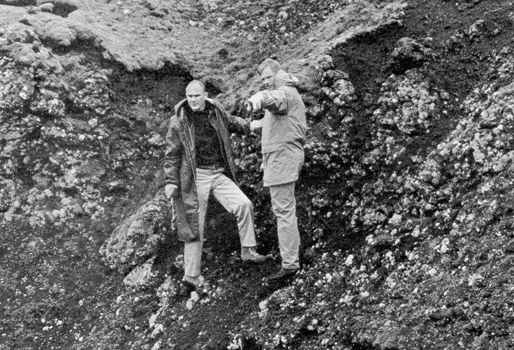 Neil Armstrong (right) and Ken Mattingly during a geology field trip in Iceland 1967 as part of astronaut training for Apollo missions to the moon.     a11.s67-33609.jpg 762×519 pixels
