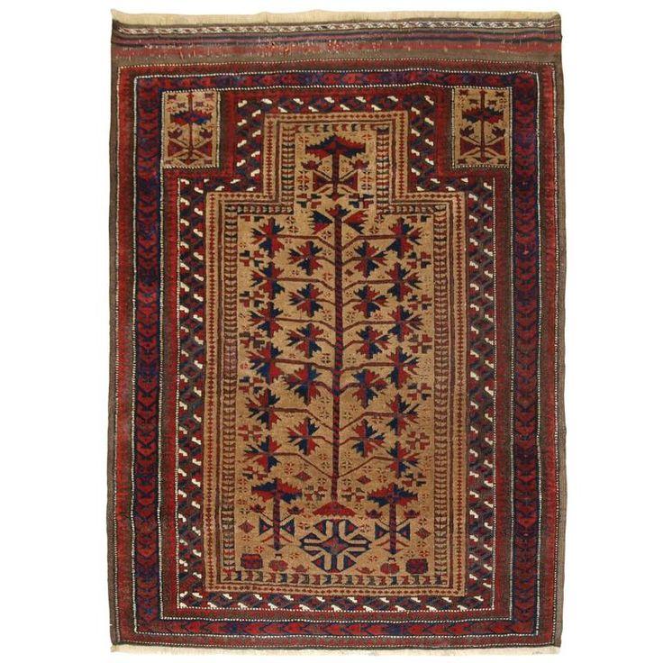Antique Baluch Camel Ground Prayer Rug, circa 1880 For Sale