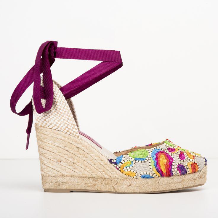 #zapatos #cuña #yute #multicolor de la nueva colección #SS de #pedromiralles en color #morado #purple #beige #shoponline
