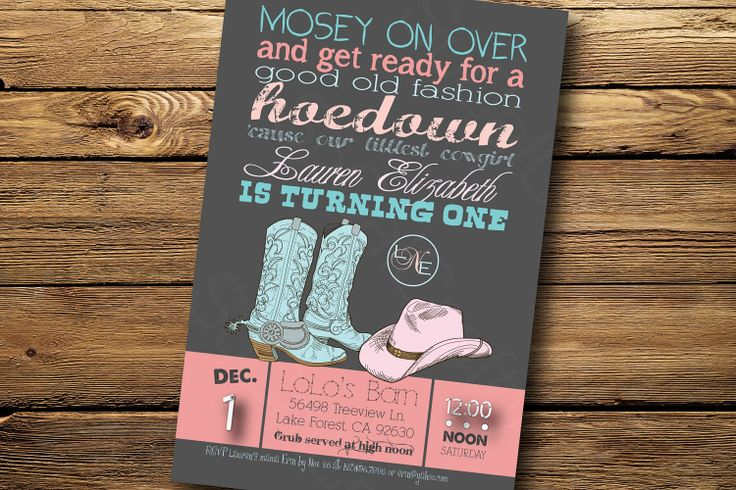 Obviously would need Cowboy themed ones but LOVE this for baby Carson's 1st birthday party!!!! Pink and Aqua Cowgirl Theme- Birthday Party Invitation, Digital or Printed. $15.00, via Etsy @Erin B Twaddell #!stBirthdayParty #BirthdayInvitations #Cowboys