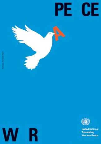 """cool idea using the image of the bird to carry a letter from war to peace.  with just an image the main idea is portrayed for the viewer.  I Really like the idea of the letter """"A"""" being the only use of color."""