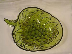 Antique Green Glassware Photos Vintage Large Dark Green Glass Fruit Grape Serving Bowl 13 X 9