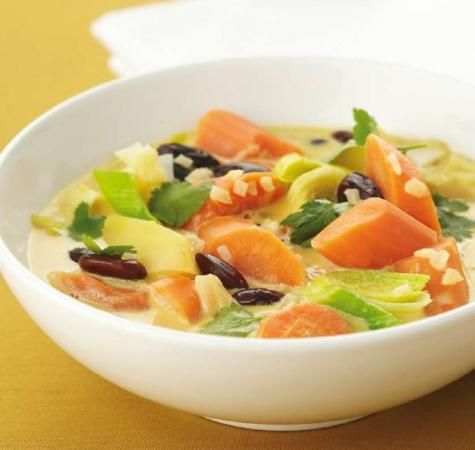 olie, ui, knoflook, wortel, prei, zoete aardappel, rode nierbonen (blik), kokosmelk, verse koriander, paprikapoeder, kerrie, zout, oregano, zout