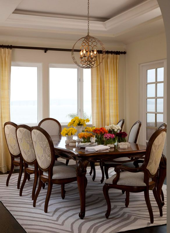 Light colored upholstery on the dining room chairs for Light colored dining room sets