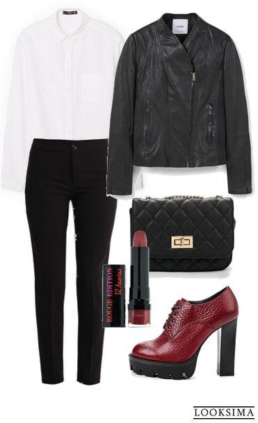 Любите рок? Заявите об этом миру, надев стильную косуху и ботильоны на массивной подошве. А строгая рубашка и чёрные брюки сделают образ ещё более модным! Купить любую вещь с фото можно по ссылке:   http://looksima.ru/look/41707/