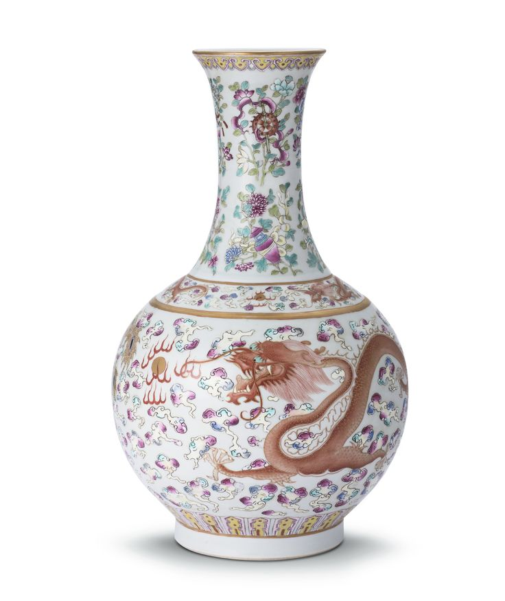 A FAMILLE-ROSE 'DRAGON' BOTTLE VASE, MARK AND PERIOD OF GUANGXU