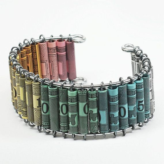 Paper Bead Jewelry- Upcycled Monopoly Money Ombre Jewelry Cuff Bracelet on Etsy, $50.00