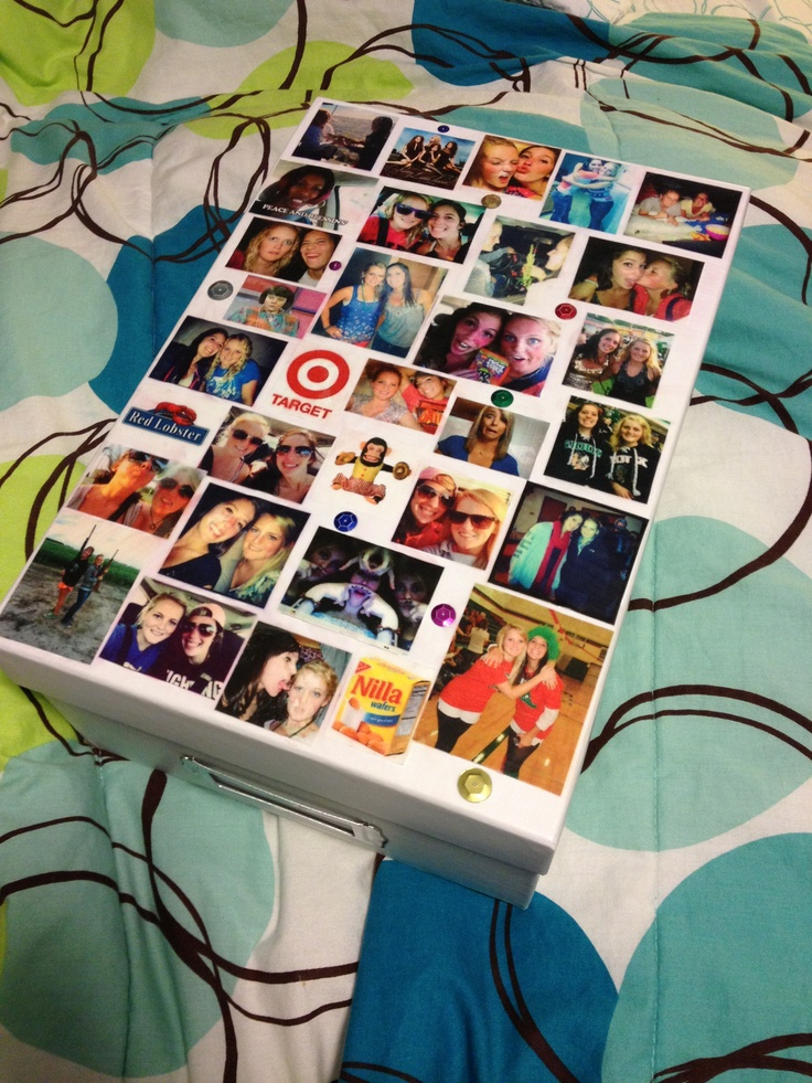 Gift idea for your best friend's birthday :) Use mod podge to glue all the photos onto a box then include little gifts inside, I used shredded newspaper to go along with them inside.