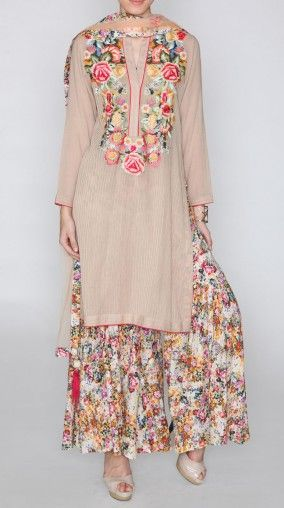 BEIGE PRINTED KURTI AND PALAZZO SET