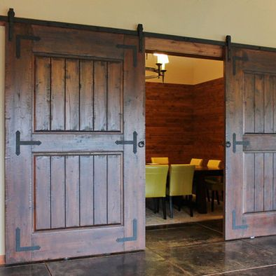 Rustic Barn Door Hardware on Wine Tasting Room - traditional - wine cellar - portland - Real Sliding Hardware