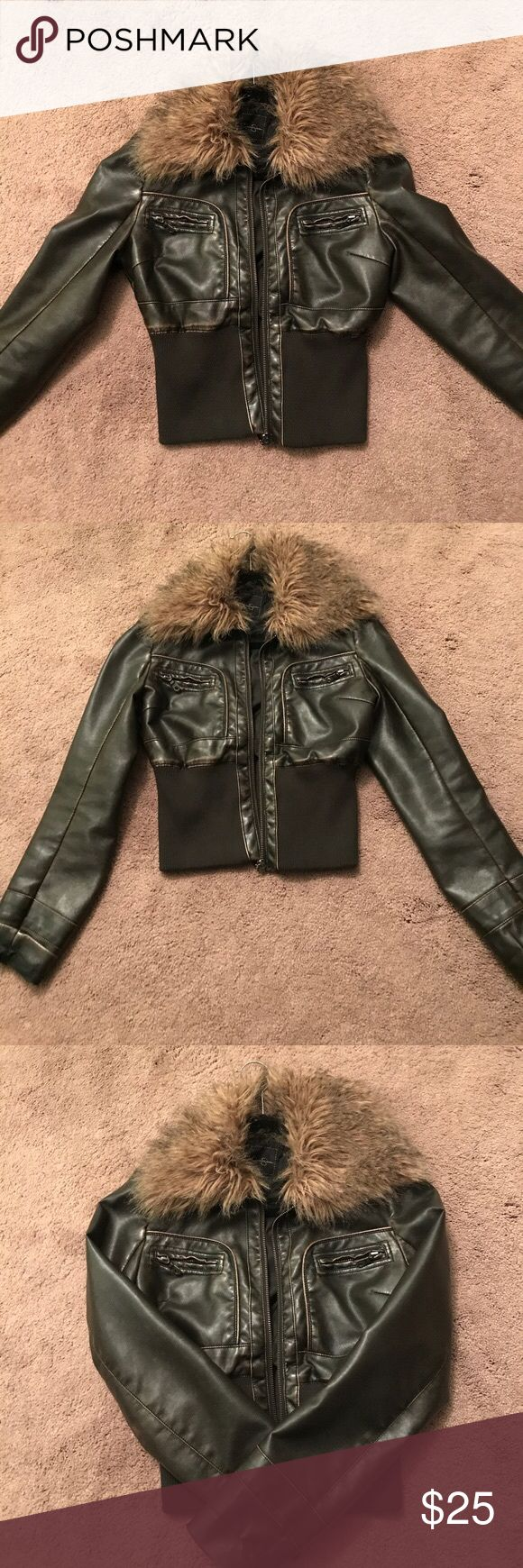❄️Jessica Simpson Faux Leather Bomber Jacket ❄️ Worn few times- Excellent Condition - Leather is super soft ! Jessica Simpson bomber jacket, dark brown leather with faux fur collar. Pockets on chest. Jessica Simpson Jackets & Coats