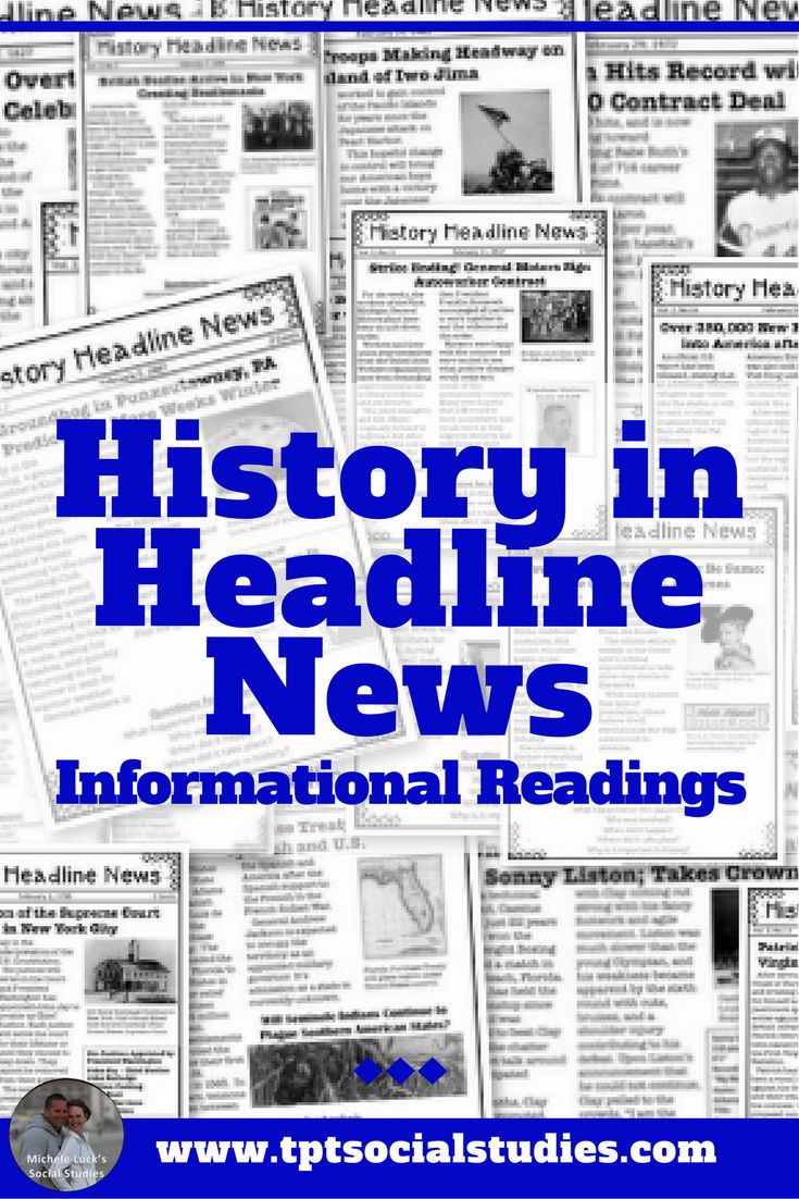 Teach your students about history though reading the daily headline news! This no prep resource will introduce historic topics with engaging headlines and vivid images. Serves as a great lesson to tie in current events while addressing Social Studies content standards or CCSS skills. Great for 4th grade, 5th grade, 6th grade, or even middle or high school students with reading challenges, in ELA, ESL or SPED. #reading #elementary #students #lessons #socialstudies #history #ccss #tpt #tptsale