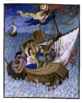 Saint Nicolas calming the seas: this illustration from the Très Riches Heures of the Duc de Berry depicts one of the miracles attributed to the Saint. This also forms the subject of one of the movements in Britten's cantata, Saint Nicolas.